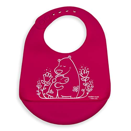 Silicone Adjustable - modern-twist B01 Waterproof Silicone Adjustable Strap Bucket Baby Bib, Bears