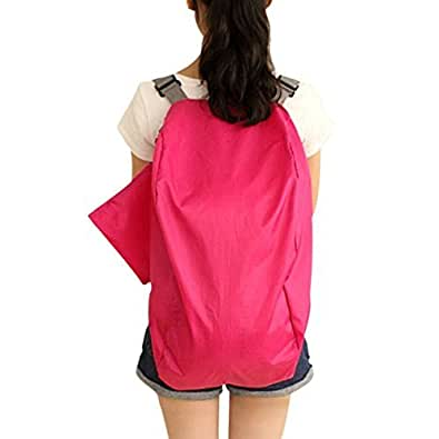 WITERY 2 Way Use Nylon Crossbody Foldable Travel Shoulder Storage Bag Handbag Backpack Rose Red