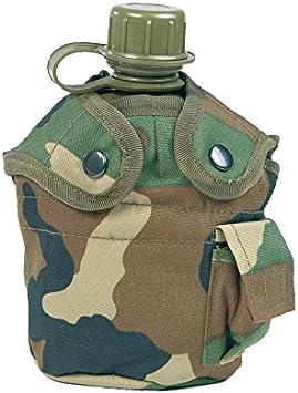 Mil-Tec US–Bolsa de plástico con Incluye Aluminio Taza Woodland Cantimplora, Multicolor, 22x 11,5x 8,5cm
