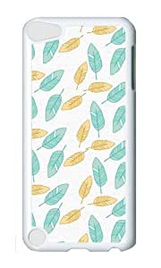 Ipod 5 Case,MOKSHOP Cool Feathers Aqua Yellow Colors Hard Case Protective Shell Cell Phone Cover For Ipod 5 - PC White