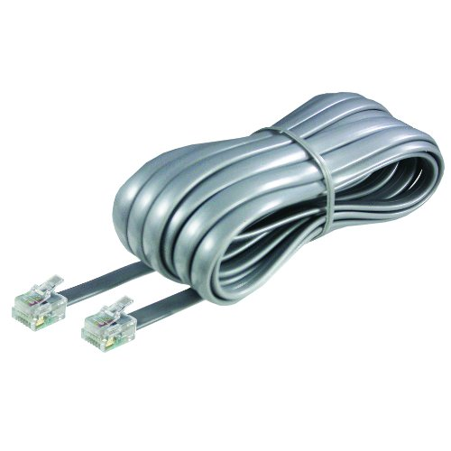 25ft Modular Extension Cord - Softalk 46625 Phone Line Cord 25-Feet Silver Landline Telephone Accessory