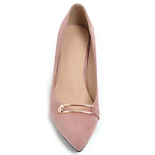 TAOFFEN Pointed 28 Shoes Heel Toe Chunky Court Women's Pink 4qrw4CAU