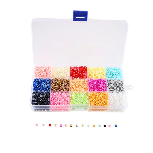 DECORA 4800 Pieces Half Round pearls rhinestone Pearl Gems Flat Back Pearls Plastic Box for DIY Craft and Nail Art,5mm