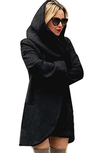 La Femme Est Automne - Hiver Chaud Avec La Longueur Des Sweat - Shirts Veste  Capuche Midi Les Impers Black