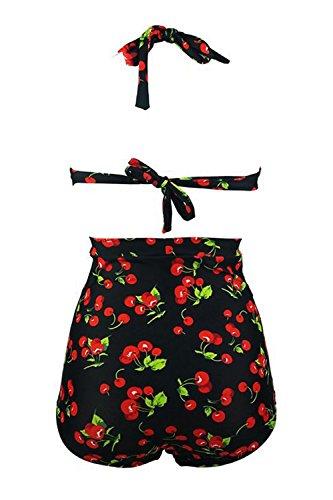 Women 's Plus Size Vintage Bikini Halter Push Up De Talle Alto Black