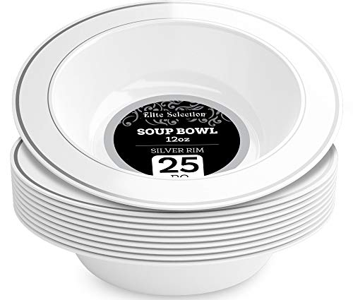 Elite Selection 12 Oz. White Soup Bowls Disposable Plastic Party Plates With Silver Rim 25 Count