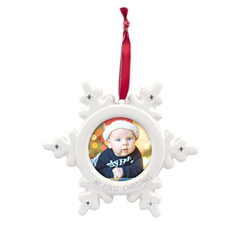 Tiny Ideas Keepsake Holiday Snow Flake Photo Ornament, Personalized Holiday Keepsake Ornament, White (White Decorations Snow Ideas)