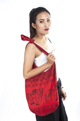 Cotton Women's Lofbaz Red Bag Crossbody Boho Buddhist 2 Elephant Monk gPxtwxCqd