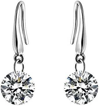 Sephla 14 k White Gold Plated 8.5 mm Naked Drill Super Sparkle Crystal Earrings