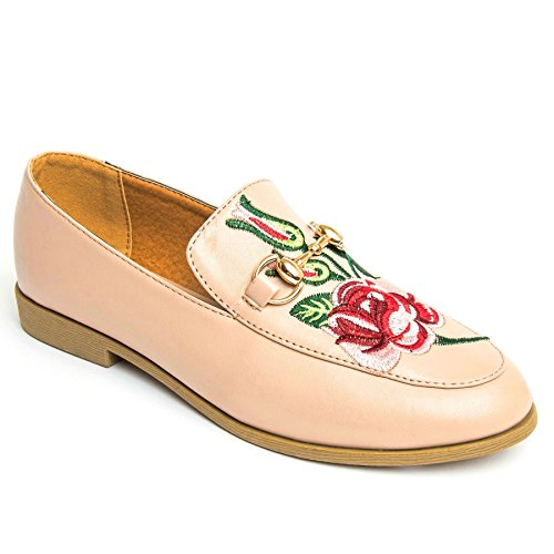 FANTASIA BOUTIQUE ® Ladies Faux Leather Floral Embroidery Stitched Gold Chain Smart Flat Loafer Shoes Nude Floral MDaQxlCKu