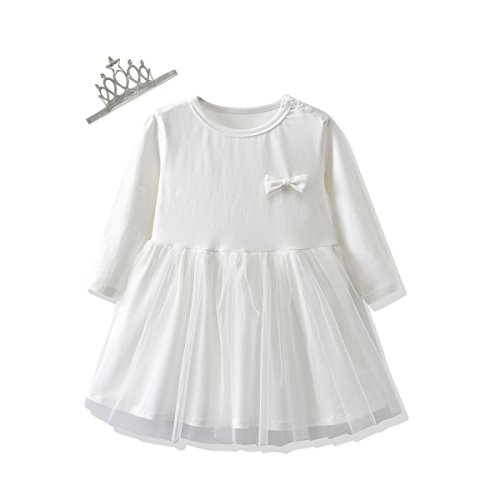 - So Smart Baby Girls Clothes Suit Long Sleeve Princess Dresses and Crown Hair Bands 2PCS Outfits Set (90 (12-18 Months), White)