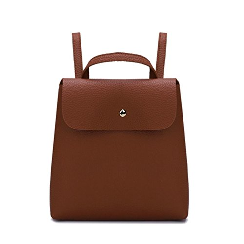 Color Mini Bag Women Girl Brown Pure Fshion Shoulder squarex School Leather Bag Backpack Green xqICnYP