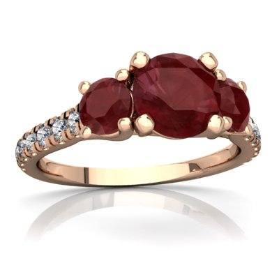14K Rose Gold Ruby and Diamond Round Pavé Trellis Ring - Size 5.5 ()