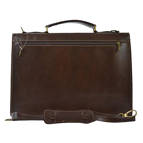 Brown Maletín hecha 38x27x7 Dark Italia piel Bolsa en de Negocios en CTM Cm Unisex D7004 genuina wZqI7x8