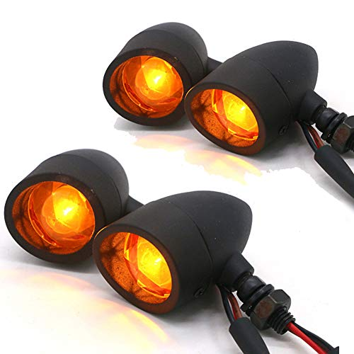 BESONDER 4Pcs Heavy Duty Motorcycle Bullet Turn Signals Blinker Amber Indicator Lights Lamp -