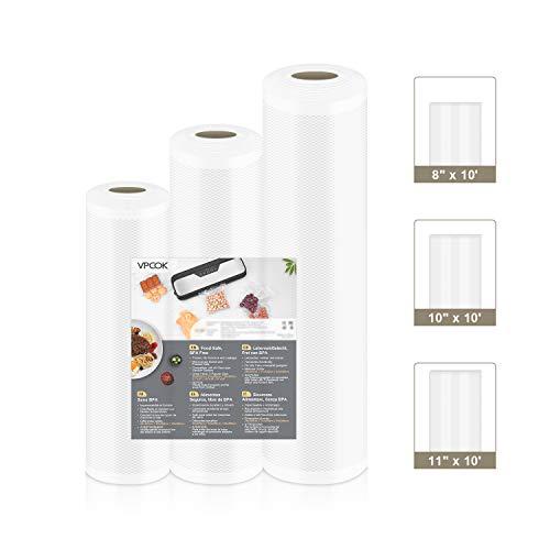 VPCOK Vacuum Sealer Bags 3 Rolls 8″ x 10′, 10″ x 10′, 11″ x 10′ Vacuum Seal Roll 3 Pack BPA Free Fit VPCOK Vacuum Sealer & Sous Vide for Food Saver Food Storage Bag Roll Vac Storage Meal Prep