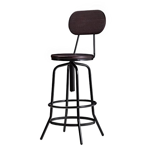 (Wallace Adjustable Counter Bar Stool with Back in Dark Walnut Round Wooden Iron Bar Retro Back Rest Industrial Modern Rustic Barnyard Midcentury Style Furniture Patio Vintage Swivel Dining Pub)