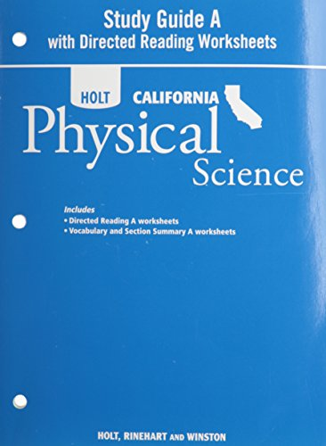 Holt Science & Technology: Study Guide A With Directed Reading Worksheets Grade 8 Physical Science