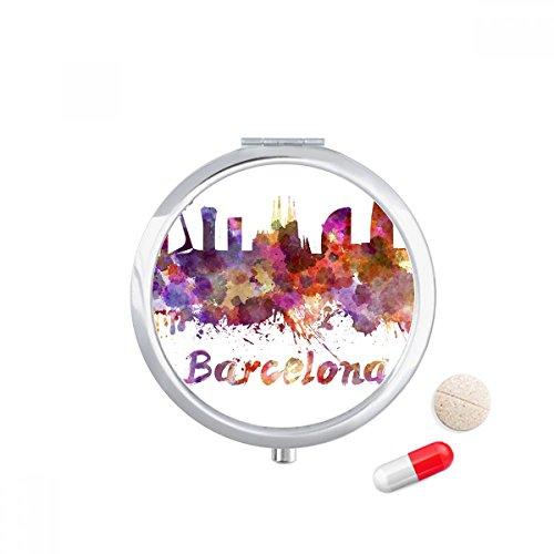 Barcelona Spain City Watercolor Travel Pocket Pill case Medicine Drug Storage Box Dispenser Mirror Gift by DIYthinker