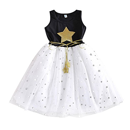 Smart Baby Girl Clothes Sequins Stars Tulle Skirts Dress One Piece Tutu (Girls Star Dress)