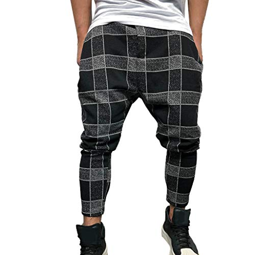 Mens Slim Fit Joggers Fitness Activewear Sports Plaid Cargo Jogger Pant Chino Trousers Sweatpants W Drawstring - Plaid Train