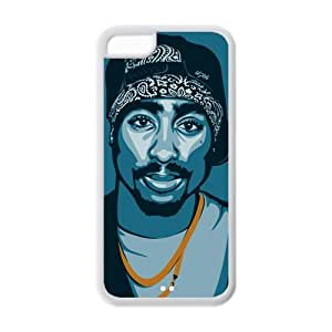 Hardshell Strong Protective Hot Rapper Singer Tupac Amaru Shakur Cool Man Protective Cover Case for Iphone 5C TPU Case-2