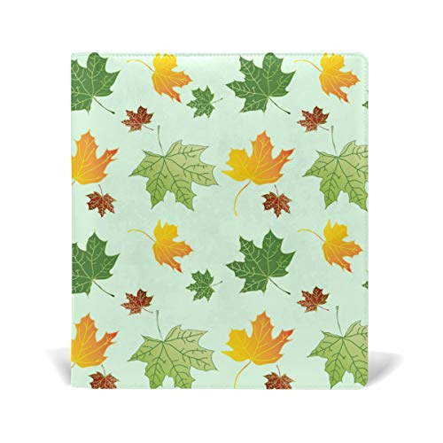 ColourLife Leather Book Covers for Textbooks Hardcovers Colorful Maple Leaves School Books Protector 9 x 11 Inches