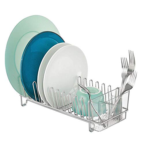 mDesign Compact Modern Kitchen Countertop, Sink Dish Drying Rack, Removable Cutlery Tray - Drain and Dry Wine Glasses, Bowls and Dishes - Metal Wire Drainer in Chrome with Clear Caddy ()