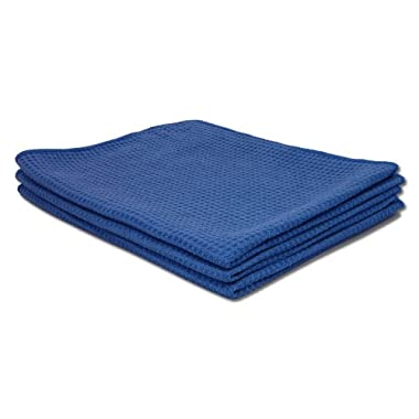 16x24 Blue Microfiber Waffle Towels - 3 Pack   Drying & Scrubbing Towels   Perfect for the Kitchen, Soaking Up Spills, and Auto Detailing