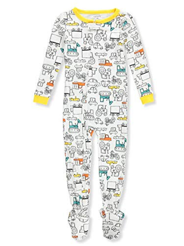 Carter's Little Boys' Toddler 1-Piece Footed Pajamas - White/Black, 2t
