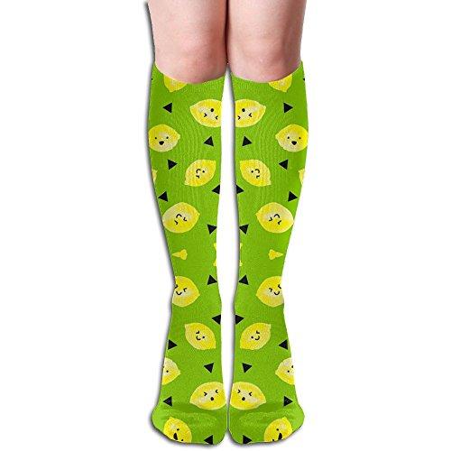 Sour Lemons - Bright Green Unisex Knee High Long Stripe Football Sports Tube Socks. Bright Lemon Stripe