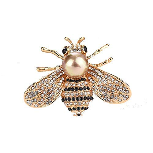 TULIP LY Honey Bee Brooches Crystal Insect Themed Bee Brooch Animal Fashion Shell Pearl Brooch Pin Gold Tone (Gold Pearl)