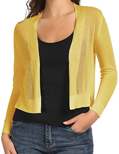 Women Lightwegiht Sequin Bolero Long Sleeve Sparkly Wedding Shrug Cardigan Yellow XL