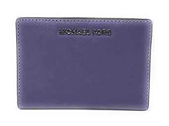 Michael Kors Jet Set Travel Leather Medium Card Case Carryall Wallet with Removable ID Card Holder - Purple - One Size