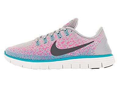 Nike Womens Free Rn Distance Wolf Grey/Dark Grey/Pink Blast Running Shoe 10.5 US