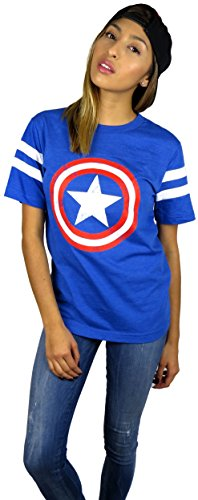 Marvel Womens Captain America Logo Varsity Football Tee Large Royal Blue/White -