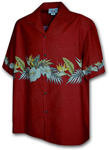 Hawaiian Shirt for Men - Red w/ Floral Stripe, 2X-Large