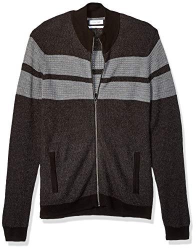 Calvin Klein Men's Full Zip Merino Plaited Sweater, ANSA Combo, X-Large