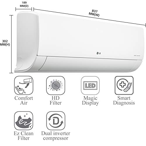LG 1.5 Ton 4 Star Inverter Split AC (Copper, MS-Q18HNYA, Super Convertible 5-in-1, Anti-Virus Protection, 2021 Model, White) 41QRn3421 L India 2021