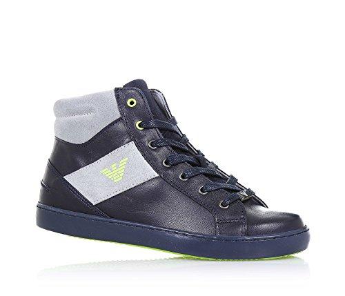 ARMANI - Blauer Sneaker aus Leder mit grauen Applikationen aus Spaltleder, seitlich ein Reißverschluss, seitlich ein Logo, sichtbare Nähte, Jungen