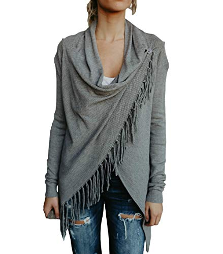 Yacooh Womens Open Front Cardigan Sweaters Knit Cowl Neck Long Sleeve Tassel Shawls - 3/4 Sleeve Cowl Neck Sweater