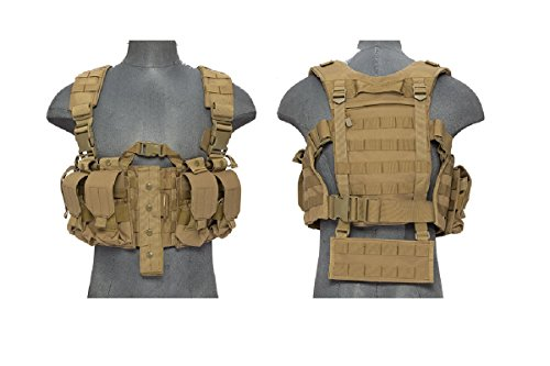 AirsoftMegastore Lancer Tactical Hobby Version 2 Replica Chest Harness MOLLE Rig - TAN by Lancer Tactical