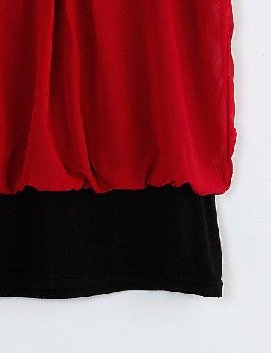 Rojo Manga Pico verde De diario Medio Color Poliéster Las Blusa Un negro Simple escote En Zll Mujeres Casual Primavera Corta Xl verano TBPqq6