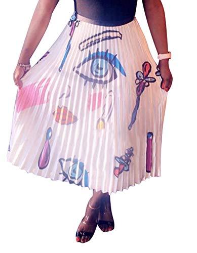 MONASAMA Women Color Block Graffiti Letter Print Cartton Pleated A Line Mini Party Skirt Lips S ()
