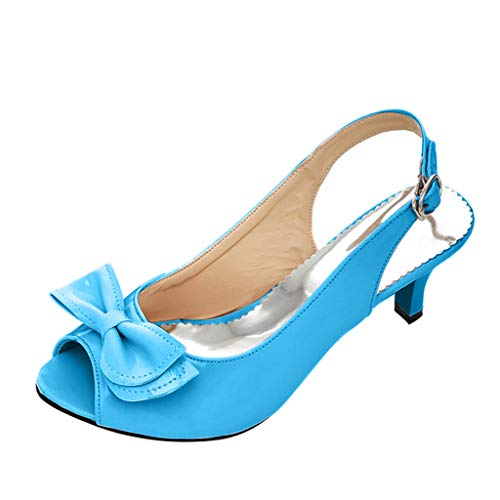 Mysky Fashion Summer Women Sexy Fish Mouth Bowknot Pure High Heels Sandals Ladies Casual Ankle Buckle Single Shoes Blue