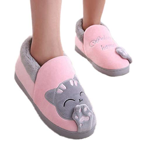 Winter Slippers Boots Cartoon Lucky Cat Women Non-Slip Home Men Indoor Bedroom Couple Warm Plush Shoes