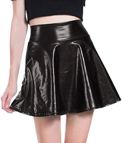junkai Minifalda Brillante Mujer Look Cuero Sintético Líquido ...