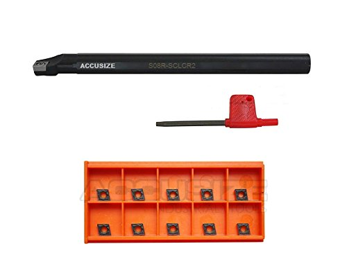 AccusizeTools - 1/2'' x 7'' RH SCLCR Indexable Boring Bar with 10 Pcs CCMT Carbide Inserts, P252-S403INS Accusize Co. Ltd.
