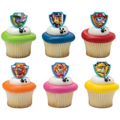 12 Cake Cupcake Ring - Paw Patrol Cupcake Topper Rings - Set of 12