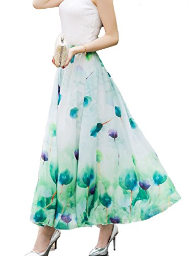 Afibi Women Full/Ankle Length Blending Maxi Chiffon Long Skirt Beach Skirt (Medium, Design P)